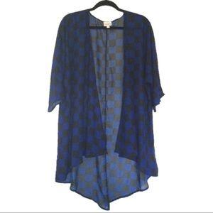 "LuLaRoe ""Lindsey"" Black/Blue Checkered Kimono"